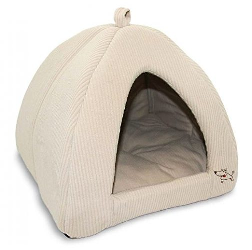 Best Pet Supplies Corduroy Tent Bed for Pets, Beige - Medium